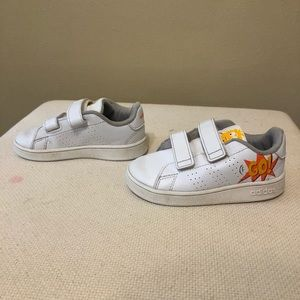 Little boys white Adidas shoes
